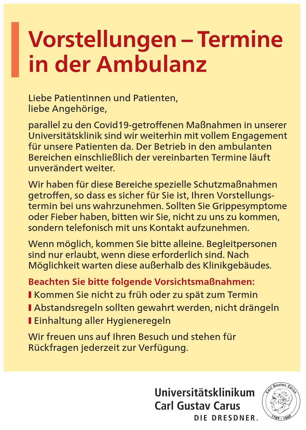 Ambulanzbetrieb unter Covid19