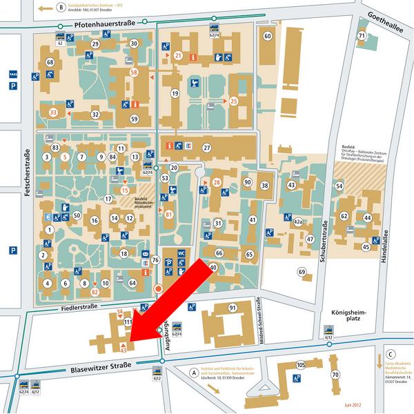 Standortkarte des Universitätsklinikums